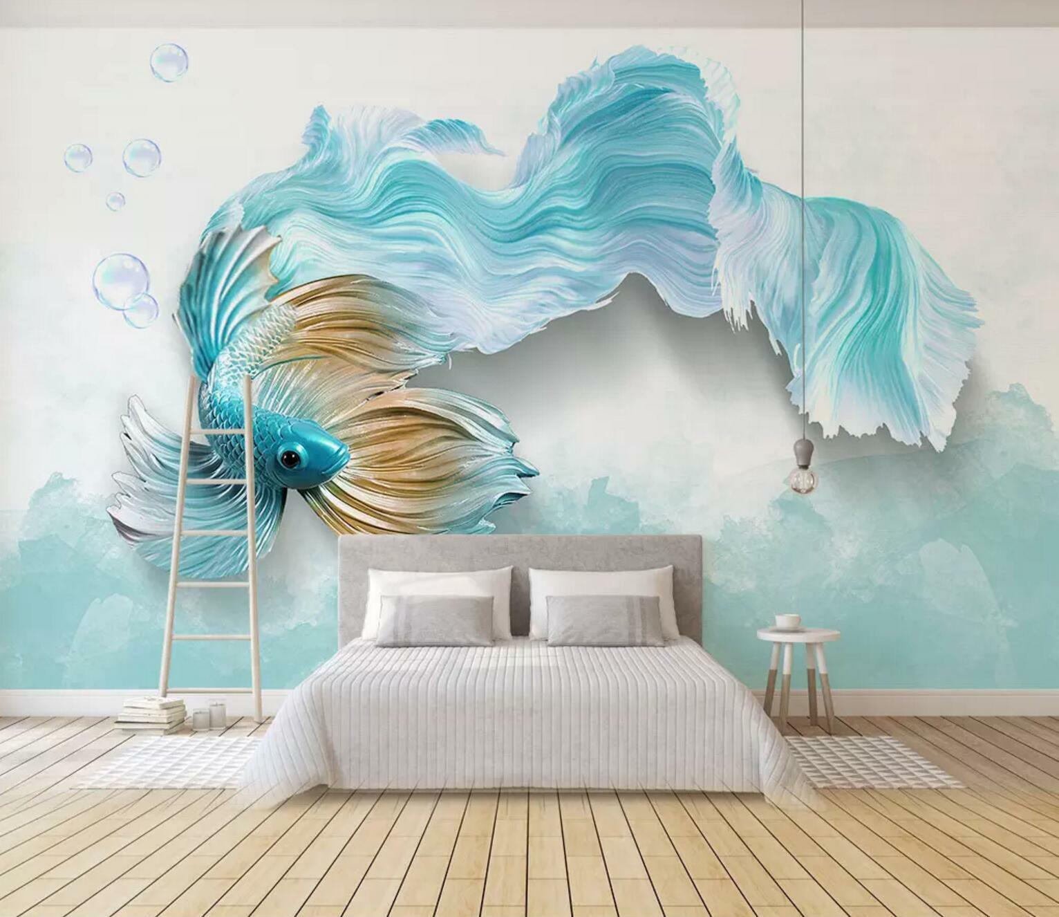 3D Fish Bubble 73 Wall Paper Exclusive MXY Wallpaper Mural Decal Indoor Wall AJ