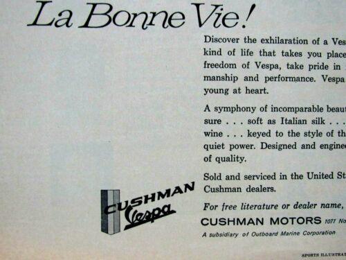 "Original Print Ad-8.5 x 11 /"" 1961 Cushman Vespa La Bonne Vie"