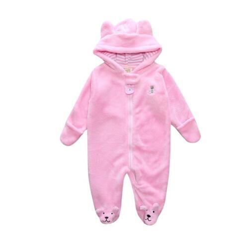 Infant Kids Baby Boy Girl Warm Winter Coral Fleece Hoodied Baby Romper Jumpsuits