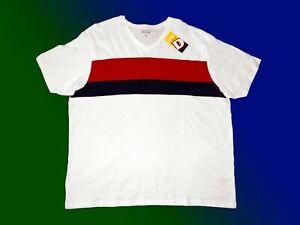 Herrenshirt-Basic-T-Shirt-Freizeitshirt-Ubergroesse-5-XL-V-Ausschnitt-wollweiss