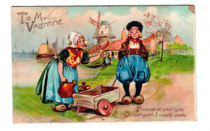 Antique-1900-039-s-TUCK-Postcard-034-To-My-Valentine-034-Dutch-Couple-Series-119-PC0002