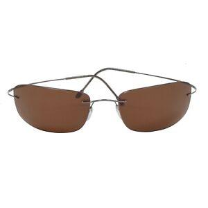 Silhouette-Titan-8610-Austria-Titanium-Sonnenbrille-Sunglasses-Braun-Gra-Rimless