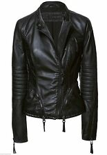 AUTHENTIC ZARA BLACK LEATHER QUILTED SLEEVE BIKER JACKET COAT BLAZER XS NEW