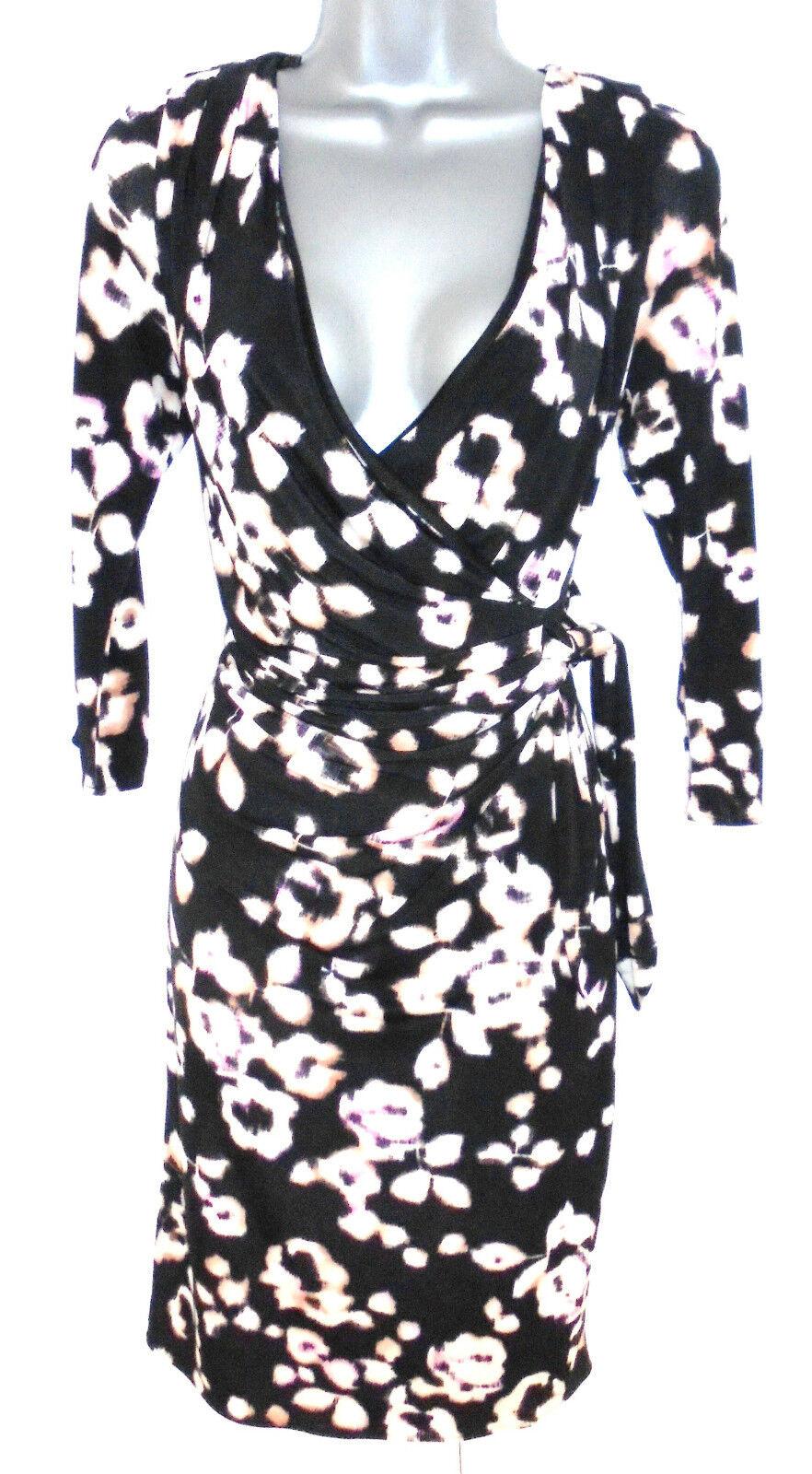 Stunning Coast Blaur Floral Print Ruch Mock Wrap Evening Occasion Dress Größe 12