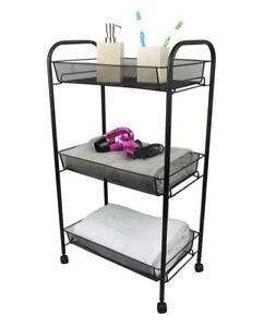 Black bathroom storage trolley 3 tier toilet linen towel - Bathroom storage cart with wheels ...