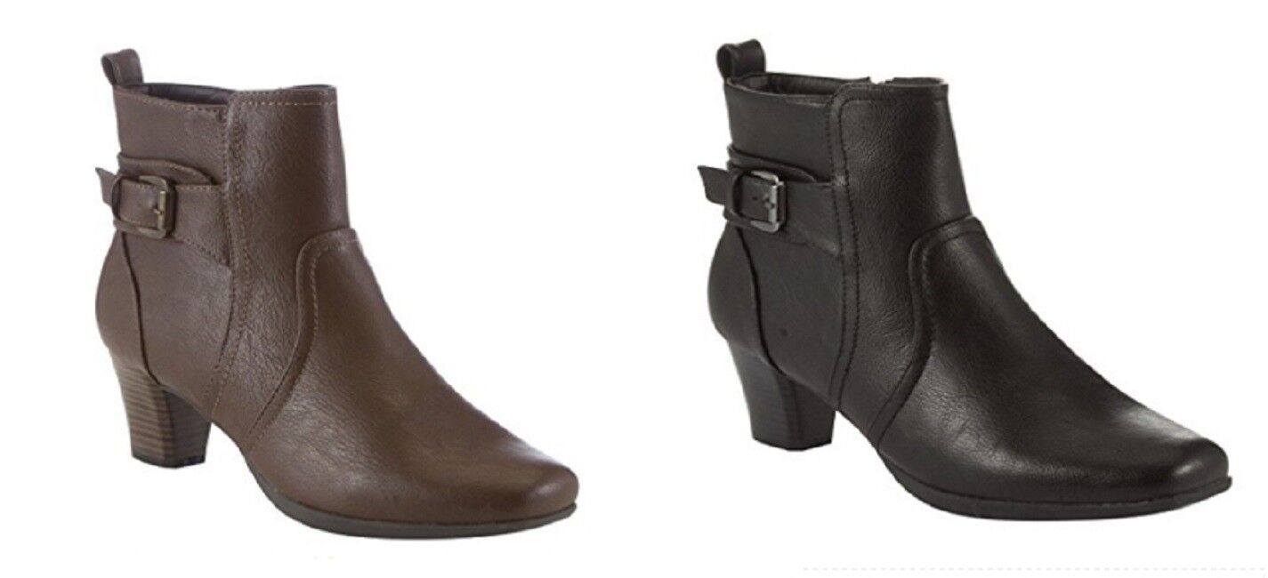 MANFIELD Leather Look Buckle Detail Ankle Boots in Black or Brown