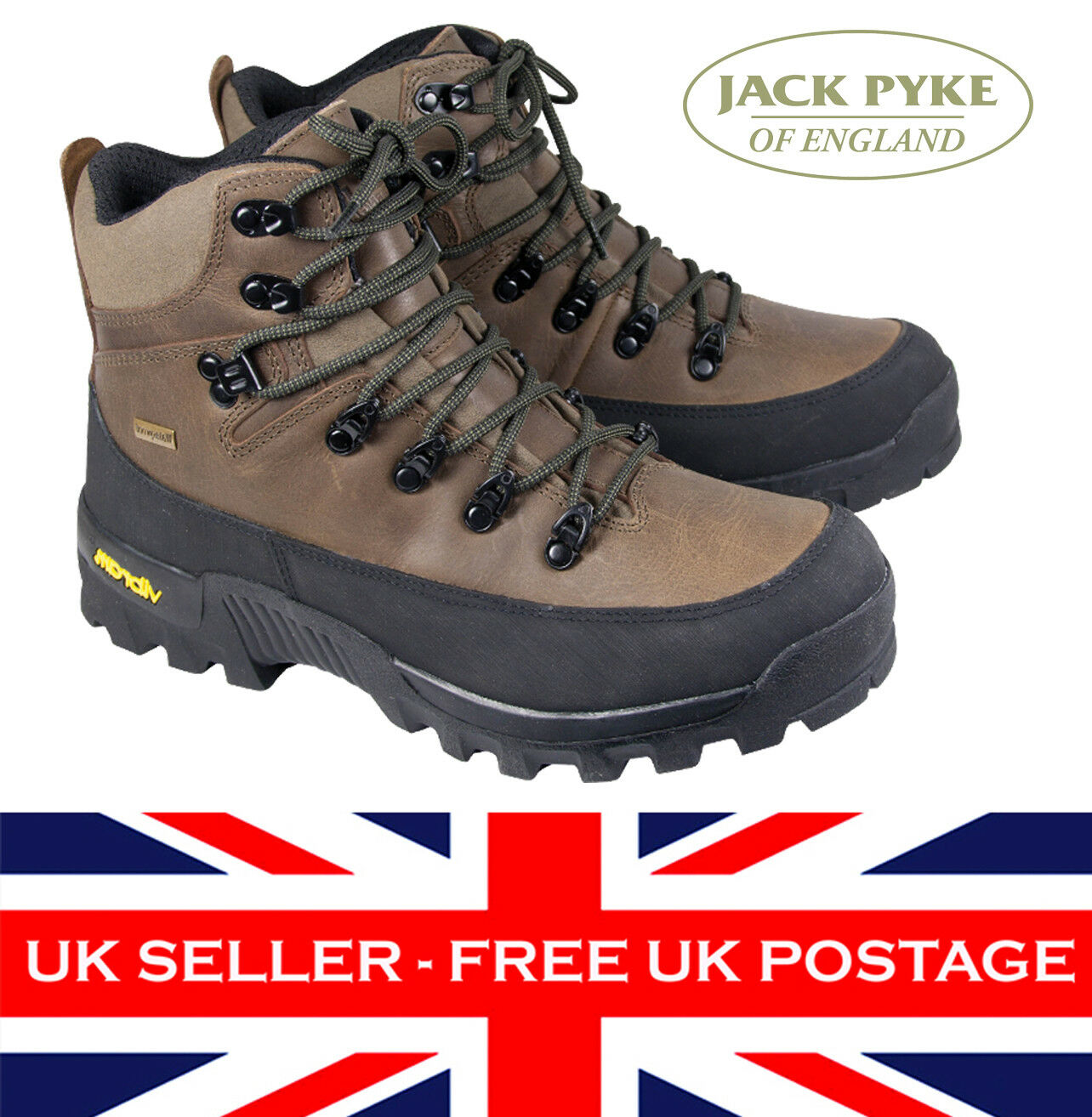 Jack Pyke Fieldman Leather Stiefel Waterproof Thinsulate Hunting Shooting Vibram