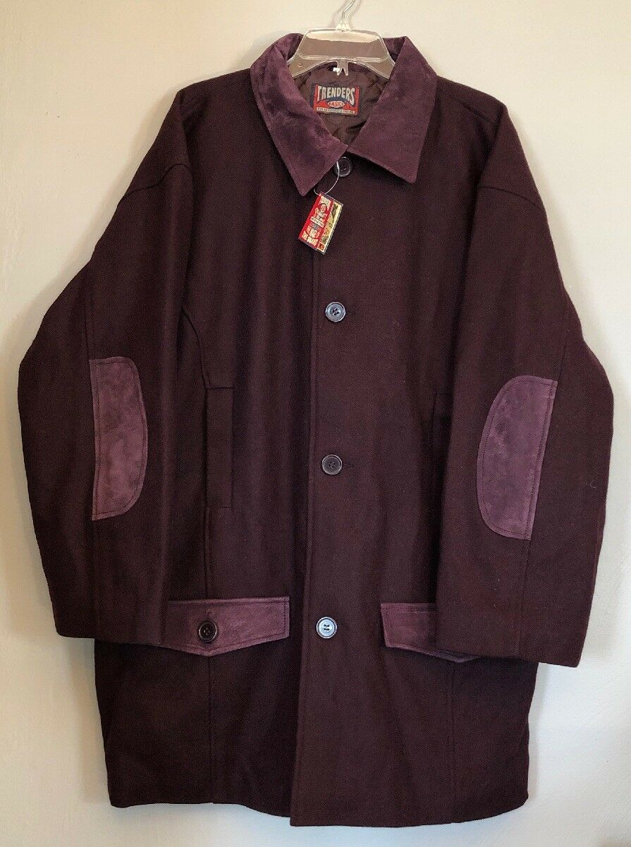 New  Trenders Basics Men's Größe XL Wool Leder Button Down Lined Field Coat NWT
