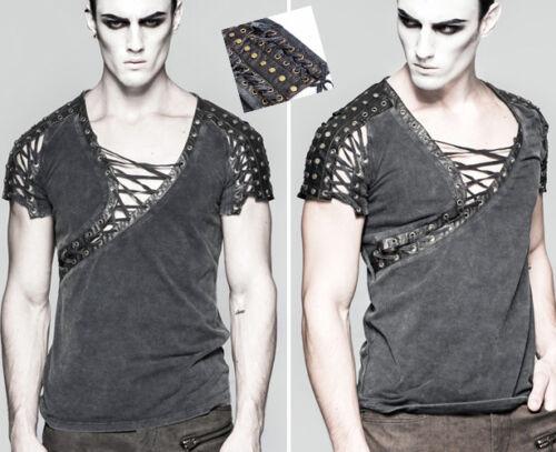 T-shirt laçage asymétrique gothique punk steampunk clous bronze