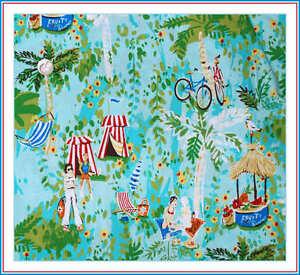 BonEful-Fabric-FQ-Cotton-VTG-Blue-Red-Tropical-Island-Beach-Boy-Flower-Surf-Bike