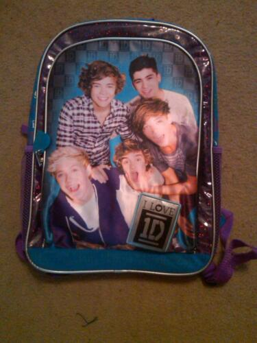 """NWT I LOVE 1D ONE DIRECTION BOOK BAG BACK PACK 16/"""" FANCY"""