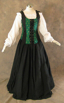 Green Renaissance Bodice Skirt and Chemise Medieval or Pirate Gown Dress LARGE