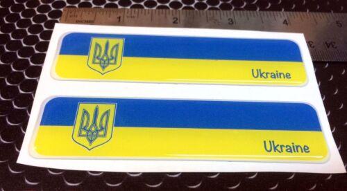 "Ukraine Proud Flag Domed Decal Emblem Car Flexible 3D 4/""x1/"" Set of 2 Stickers"