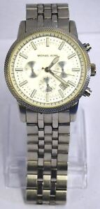 d993ce3a2719 Michael Kors MK8072 Men s Silver Knurl Chronograph Wrist Watch 176mm ...
