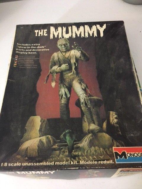 1983 vintage  die mumie  leuchten im dunkeln, kit monogram modell unbebauten