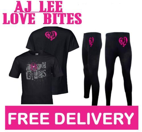 AJ LEE LOVE BITES FANCY DRESS DIVA WRESTLING WRESTLER COSTUME T-SHIRT /& LEGGINGS