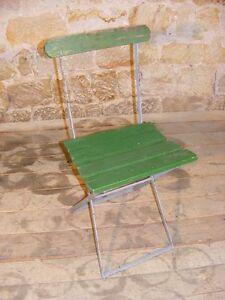 Détails sur Ancienne Chaise Pliante,de Camping,Jardin,Chaise,Bois Métal  ,Terrasse Jardin