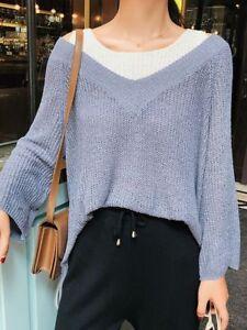 size 40 f1bf9 a7bb2 Dettagli su Comodo caldo maglione azzurro bianco maxi maglia morbido misto  lana 4751