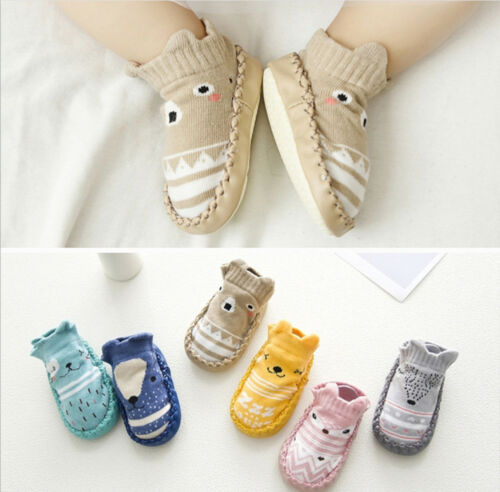 Newborn Toddler Infant Baby Crib Shoes Girls Boys Anti-slip Cotton Socks Boots P