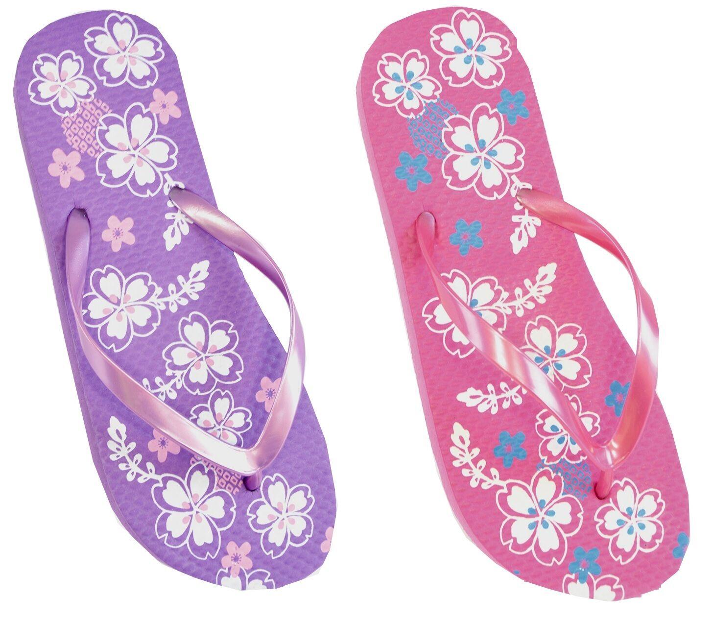 Ladies Flower Design PE Foam Sole Flip Flops with Pearlised Straps
