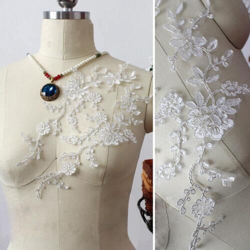Sliver Thread Lace Applique Wedding Dress Applique Floral Embroidery DIY Motif