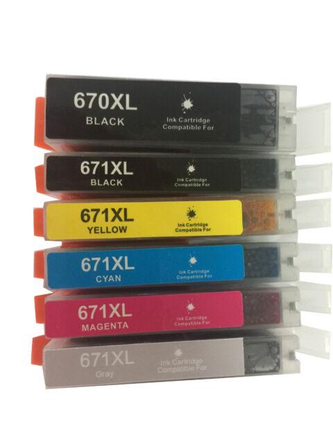 6pcs Ink Cartridges PGI-670XL CLI671 for Canon Pixma MG7760 MG7765 Printer