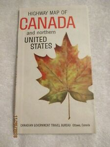 Details about 1960 Canada & Northern USA Highway Map cities towns roads  Nice color