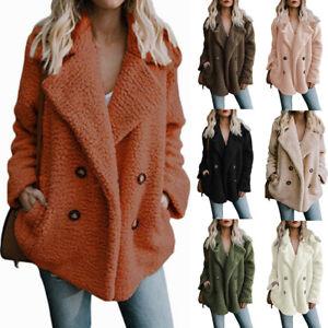 Womens Coat Lapel Fleece Fuzzy Faux Shearling Button