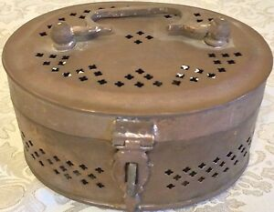 Antique-Brass-Pan-Box-Islamic-Indian-Betel-Rare-Collectible-Hand-Crafted-Jali