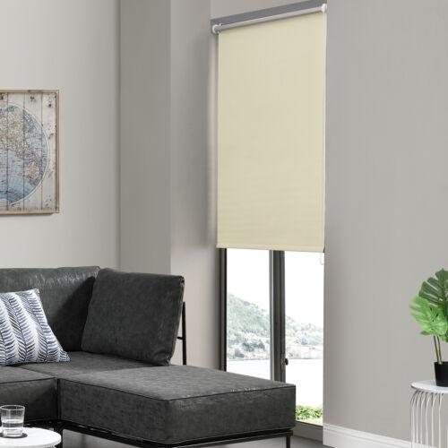 Seitenzug-Rollo 70x175cm Creme OHNE BOHREN Verdunklungs Fenster Klemm Easy Fix
