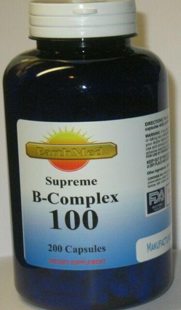 High Potency Vitamin B-100 Complex 200 Capsules Gluten ...