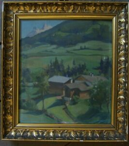 :: Louise Morel * 1898? Signed Oil Painting Landscape with Houses ° Valley France