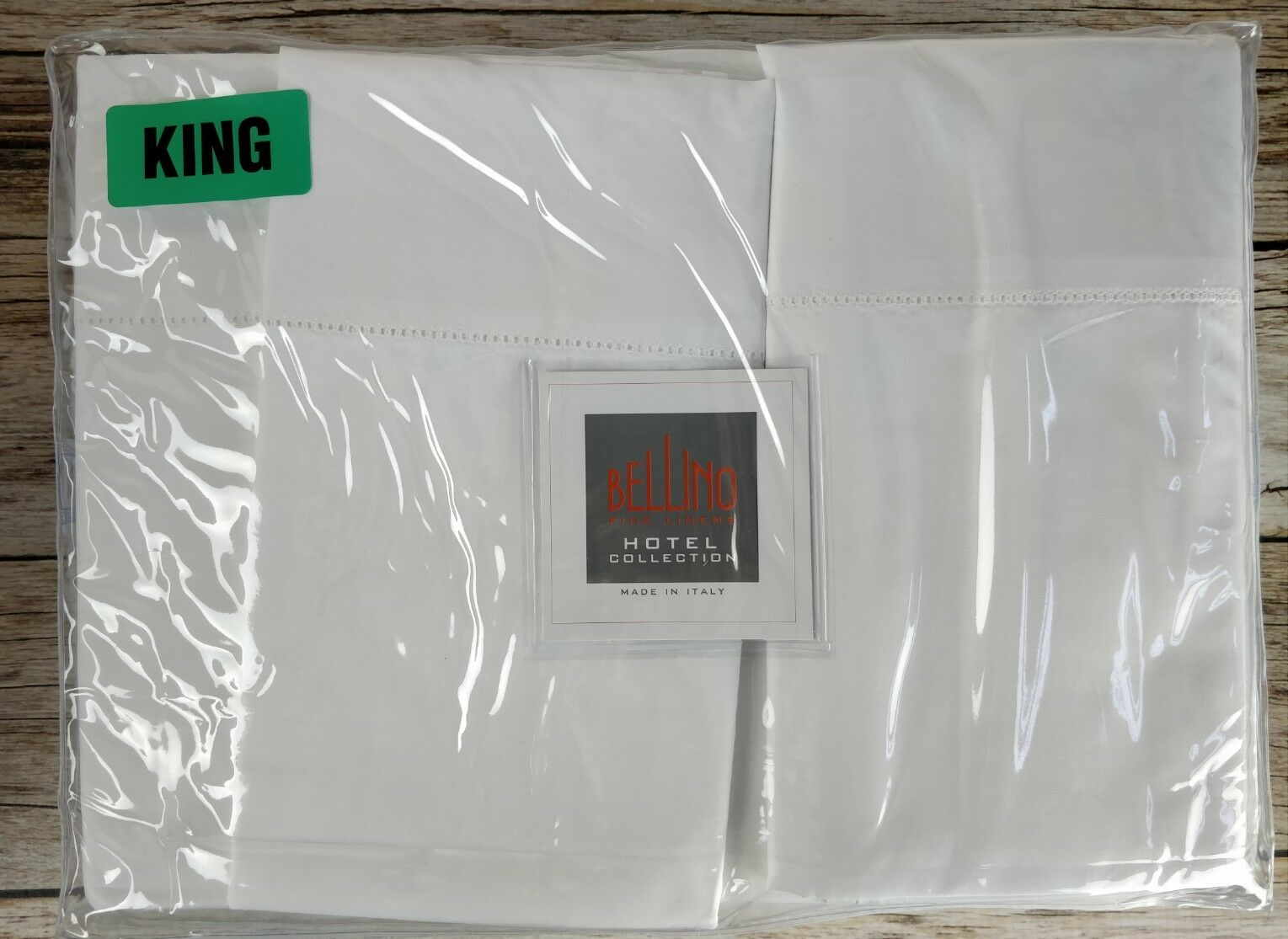 New Bellino Fine Linens Weiß King Sheet Set 100% Cotton Percale Made in ITALY