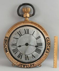 Antique 19thC Cast Iron & Zinc, Double Sided Pocket Watches Clocks Trade Sign