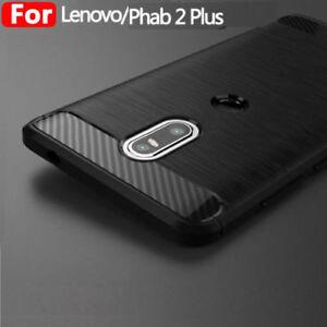 huge selection of d7b58 8937d Details about Shockproof Hybrid Carbon Fiber Rubber TPU Back Case Cover For  Lenovo Phab2 Plus