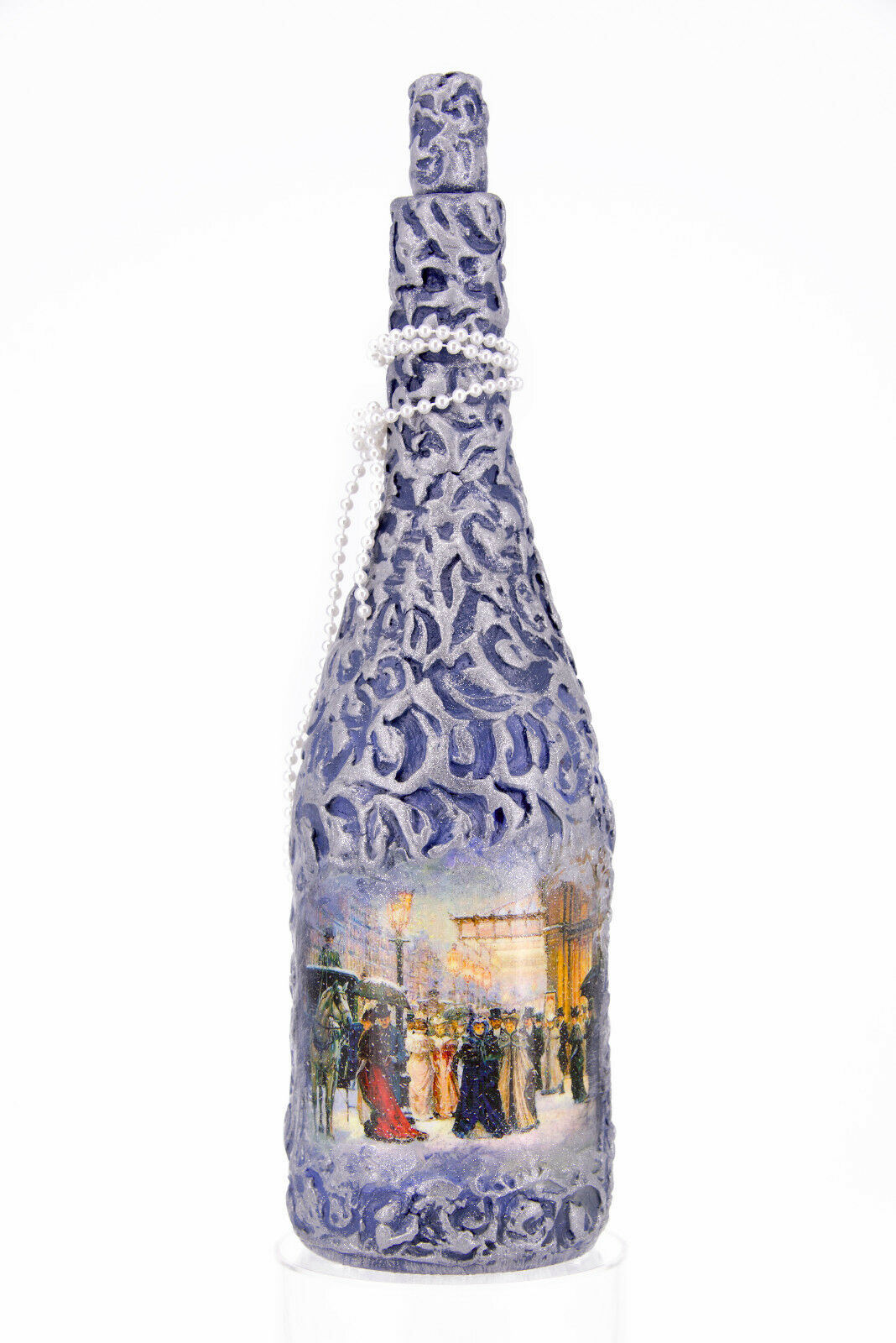 "Handmade decorative bottle. Decoupage. Decor. Craft.  ""Night before Christmas ."