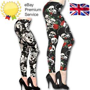 Banned-Apparel-Women-039-s-Black-Red-White-Gothic-Emo-Punk-Rockabilly-Skull-Leggings