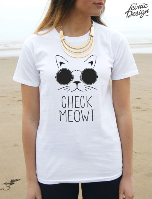 * Check Meowt T-shirt Top Fashion Funny Cat Gift Meow Crazy Lady Pet Cats Cute *