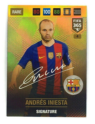 PANINI FIFA 365 cards 2017-4-Andres Iniesta-Signatures-FC Barcelone