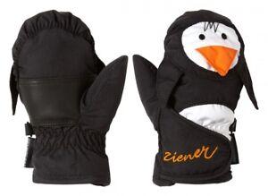 Ziener Kinderfäustlin<wbr/>ge Handschuhe LAFAUNA AS MINIS Pinguin schwarz 801951 12