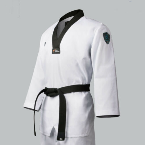 Mooto Challenger Uniform Black V Neck Dobok Taekwondo Suits New WT Logo MMA TKD