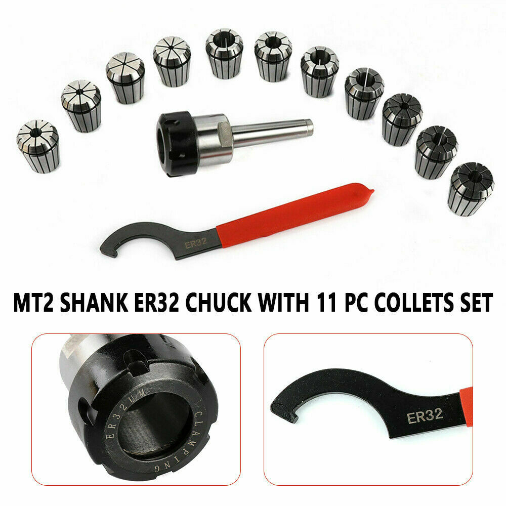 Spanner for Milling Lathe Tool Work-Holding Engraving Machine with Box LHQ-HQ ER32 Collet Set MT2 Shank Handle Holder Big Clamping Force Precision ER32 Collet Chuck Set