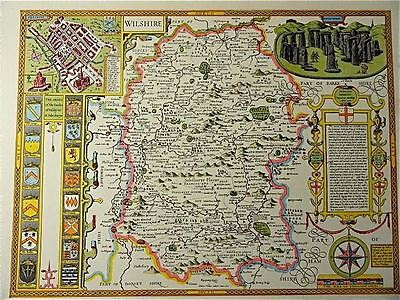 OLD COPY OF JOHN SPEED MAP OF WILSHIRE WILTSHIRE STONE HENGE SALISBURY TOWN PLAN