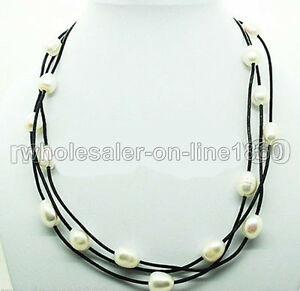 WOMEN-039-S-JEWELRY-HUGE-11-12MM-WHITE-BAROQUE-RICE-PEARL-BLACK-LEATHER-NECKLACE