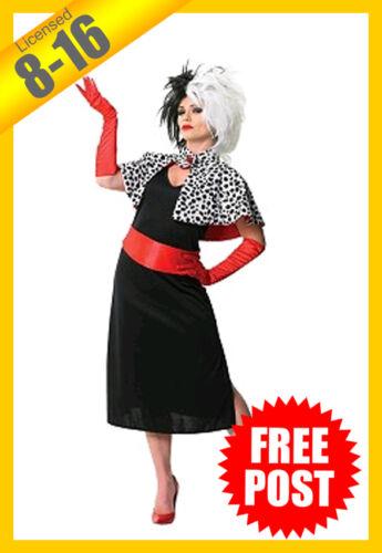 RUBIES Ladies Costume Fancy Dress Disney Cruella De Vil 101 Dalmations 880564