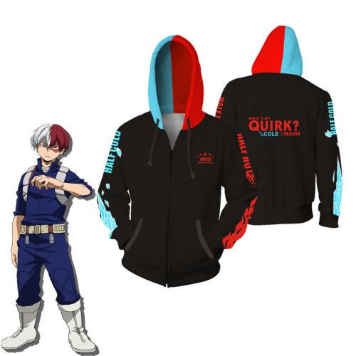 Anime My Hero Academia Hoodie Sweatshirts Todoroki Shoto Cosplay Coat new