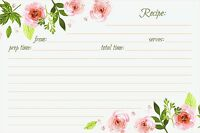 Recipe Cards Floral Double Sided 50 Count Pink Peonies By Jot & Mark