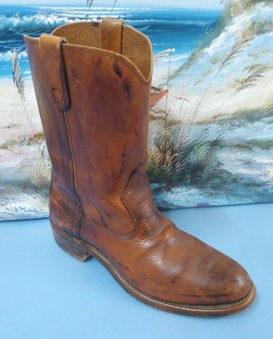 Men's Vintage Brown Western Leather Cowboy Boots Size 9