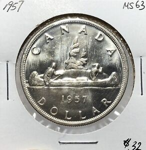 Canada-1957-Silver-One-Dollar-1-CHOICE-UNC