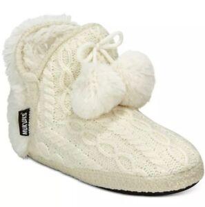 e2cec911d Muk Luks Pom Pom Amira Fur Sweater Bootie Boots Slippers Large 9/10 ...